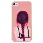 D4-009 Beauty's Back Pattern Plastic Back Case for Iphone 4 / 4S - Pink