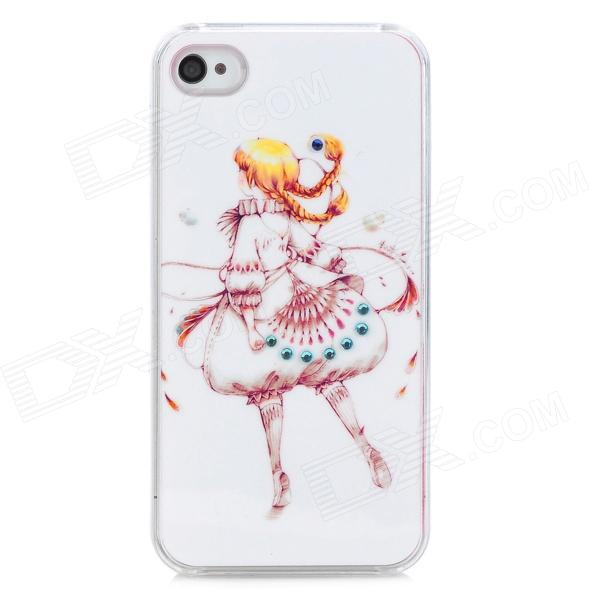 Protective Cartoon Girl Figure Plastic Case for Iphone 4S - White + Yellow protective cartoon silicone back case for iphone 4 4s red white