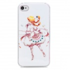 Protective Cartoon Girl Figure Plastic Case for Iphone 4S - White + Yellow