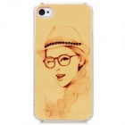D4-004 A Girl with Hat and Glasses Pattern Plastic Back Case for Iphone 4 / 4S - Pink + Yellow