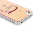 Girl with Hat and Glasses Pattern Plastic Back Case for Iphone 4 / 4S - Pink + Yellow