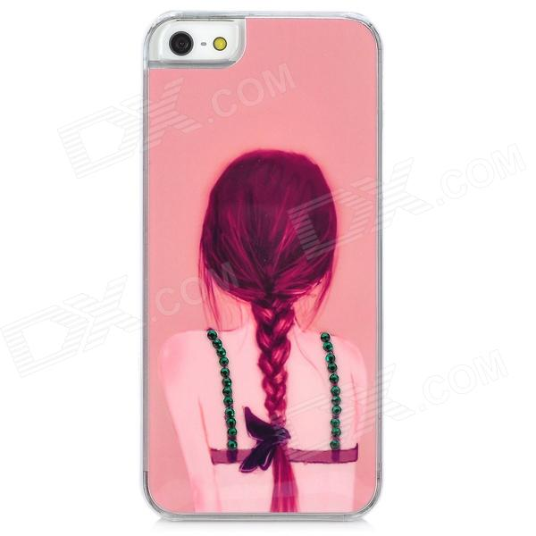 D4-009 View of a Girl's Back Pattern Plastic Back Case for Iphone 5 - Pink d4 009 beauty s back pattern plastic back case for iphone 4 4s pink