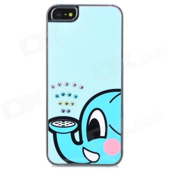 Elephant Calf Water Spray Pattern Protective Rhinestone Back Case for Iphone 5 - Light Blue cute girl pattern protective rhinestone decoration back case for iphone 5 light pink light blue