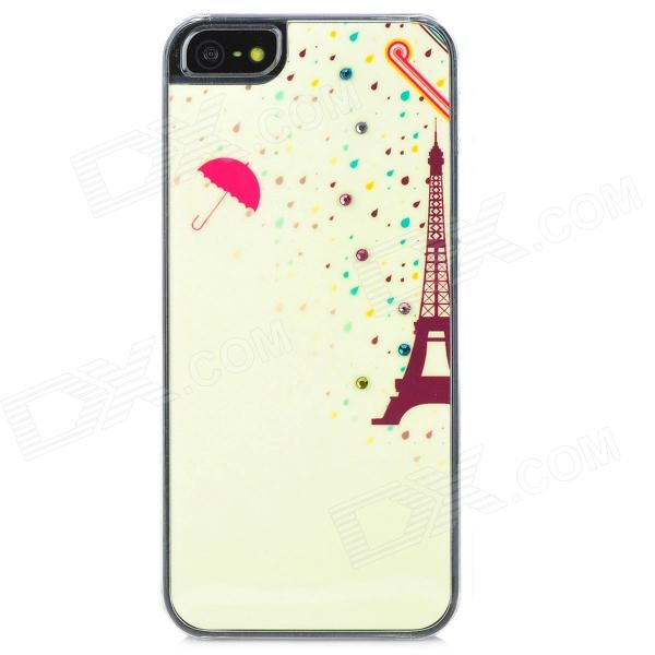 Eiffel Tower In the Rain Pattern Protective Rhinestone Plastic Back Case for Iphone 5 - Light Yellow mini dual usb car cigarette lighter charger white