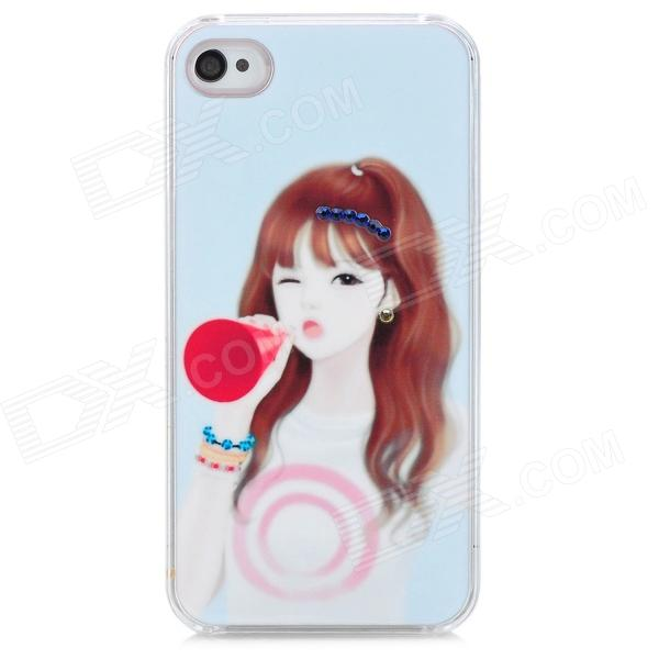 D4-011 Cute Girl Pattern with Rhinestone Plastic Back Case for Iphone 4S - White + Pink cute girl pattern protective rhinestone decoration back case for iphone 5 light pink light blue
