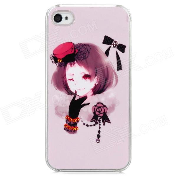 D4-008 Short Hair Girl w/ Glove & Hat Pattern Plastic Back Case for Iphone 4 / 4S - Light Pink roswheel tpu waterproof bicycle mobile phone bag w plastic case for iphone 4 4s light coffee