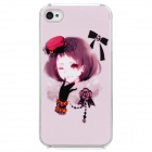 Short Hair Girl w/ Glove & Hat Pattern Plastic Back Case for Iphone 4 / 4S - Light Pink