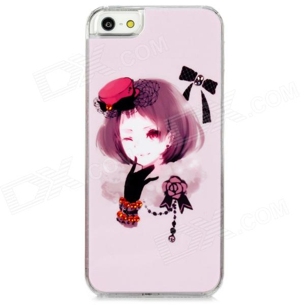 D4-008 Short Hair Girl w/ Glove & Hat Pattern Plastic Back Case for Iphone 5 - Light Pink cute girl pattern protective rhinestone decoration back case for iphone 5 light pink light blue
