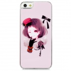 Short Hair Girl w/ Glove & Hat Pattern Plastic Back Case for Iphone 5 - Light Pink
