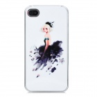 Beauty-in-Evening-Dress Pattern Protective Rhinestone Back Case for Iphone 4 / 4S - White + Black