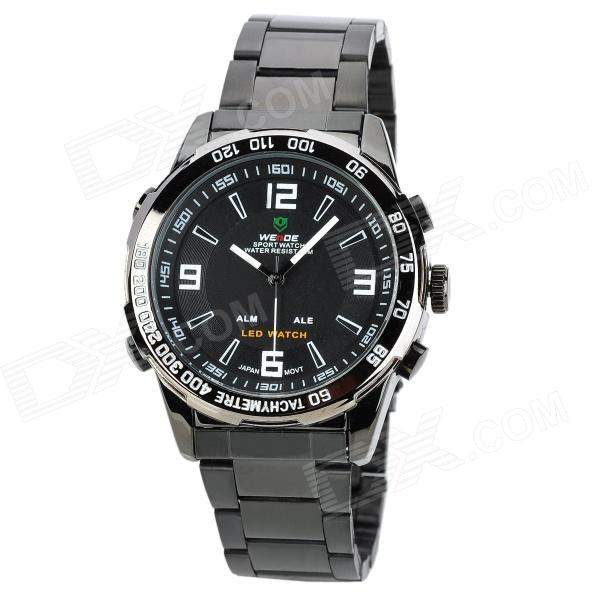 WEIDE WH-1009-BW Dual Display LED Digital + Analog Water Resistant Wrist Watch - Black (2 x SR626)