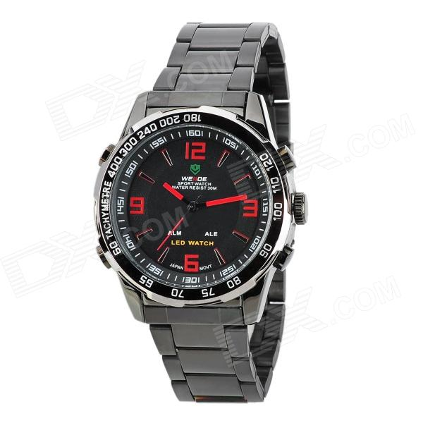 WEIDE WH-1009-BR Stainless Steel Analog + LED Digital Quartz Waterproof Wrist Watch - Black + Red fashion stainless steel red yellow led water resistant wrist watch black 2 x cr2016