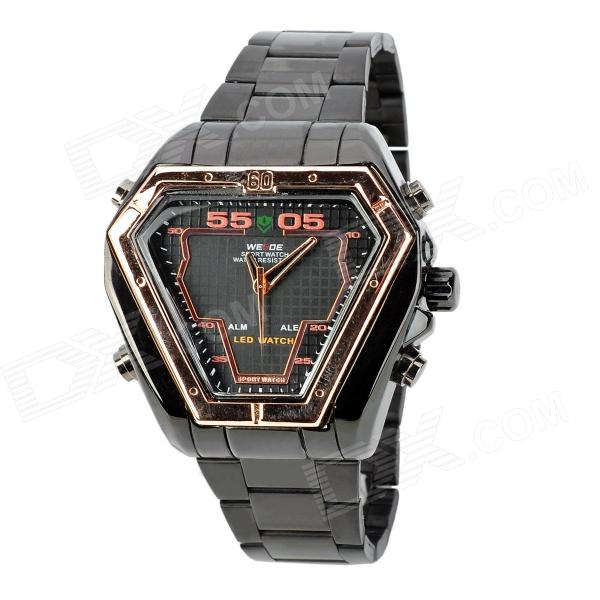 WEIDE WH1102-RG Dual Display LED Digital + Analog Water Resistant Wrist Watch - Black (2 x SR626) weide casual genuine watch luxury brand quartz sport watches stainless steel analog men larm clock relogio masculino schocker