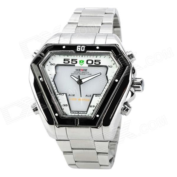 WEIDE WH1102-WS Dual Display LED Digital + Analog Water Resistant Wrist Watch - Silver (2 x SR626) weide casual genuine watch luxury brand quartz sport watches stainless steel analog men larm clock relogio masculino schocker