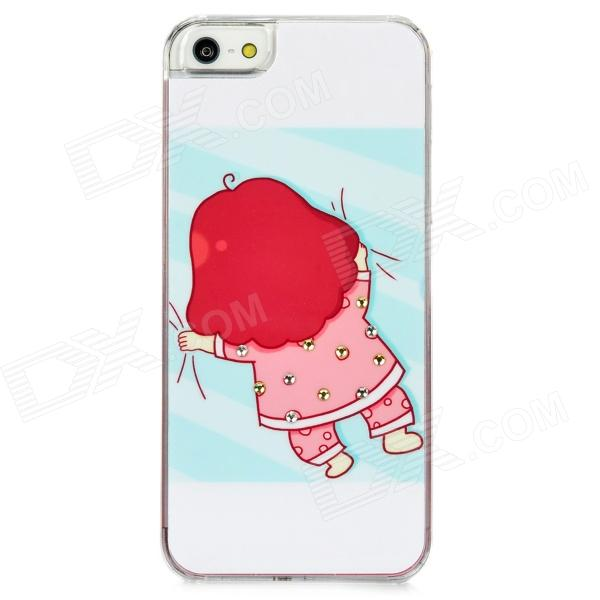 Girl Lazy in the Bed Pattern Plastic Back Case for Iphone 5 - White + Pink + Light Blue cute girl pattern protective rhinestone decoration back case for iphone 5 light pink light blue