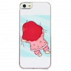 Chica perezoso en el modelo de cama Funda de silicona para Iphone 5 - White + Pink + Blue Light