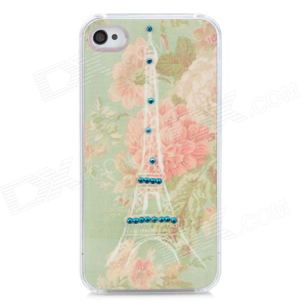 Eiffel Tower & Flower Pattern Plastic Back Case for Iphone 4 / 4S - Light Green + Pink cartoon pattern matte protective abs back case for iphone 4 4s deep pink