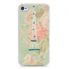 Eiffel Tower & Flower Pattern Plastic Back Case for Iphone 4 / 4S - Light Green + Pink