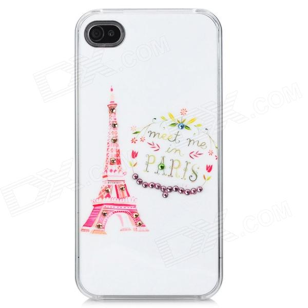 Eiffel Tower Pattern Protective Rhinestone Decoration Back Case for Iphone 4 / 4S - White + Pink аксессуар защитное стекло onext 3d для iphone 6 6s white 41002