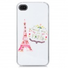 Eiffel Tower Pattern Protective Rhinestone Decoration Back Case for Iphone 4 / 4S - White + Pink