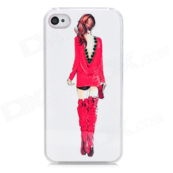 Beauty Figure Pattern Protective Plastic Back Case for Iphone 4 / 4S - Red + Pink + White