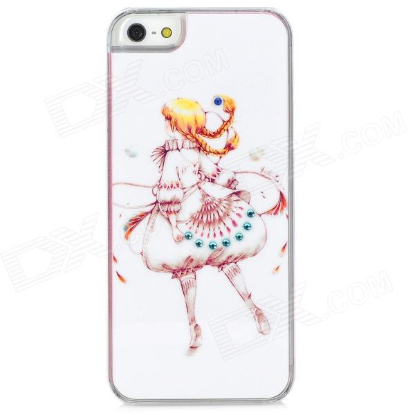 Cute Girl Pattern Protective Plastic Back Case w/ Rhinestone for Iphone 5 - Pink + White + Yellow girl playing guitar pattern protective back case for iphone 5 white black red