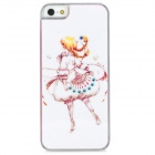 Cute Girl Pattern Protective Plastic Back Case w/ Rhinestone for Iphone 5 - Pink + White + Yellow