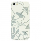 Blooming Flower Pattern Plastic Back Case for iPhone 5 - White + Grey