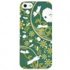 Protective Flowers Pattern Plastic Case for Iphone 5 - Deep Green