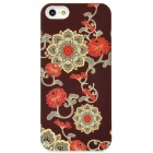 Blooming Flower Pattern Plastic Back Case for iPhone 5 - Coffee + Red + Beige
