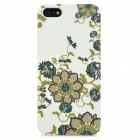 Elegant Flower Pattern Protective Plastic Back Case for Iphone 5 - White + Green
