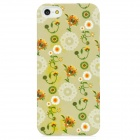 Blooming Flower Pattern Plastic Back Case for Iphone 5 - Light Green