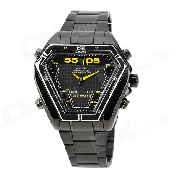 WEIDE WH1102-BY Dual Display LED Digital + Analog Water Resistant Wrist Watch - Black (2 x SR626) fashion stainless steel red yellow led water resistant wrist watch black 2 x cr2016