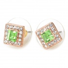 MaDouGongZhu R058-3 Square Shaped Shinning Rhinestone Ear Studs - Green (Pair)