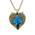 Retro Heart Wing Style Plating Iron + Rhinestone Pendant Necklace for Lady - Peacock Green