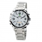 WEIDE WH-1009-W Stainless Steel Analog LED Digital Quartz Waterproof Wrist Watch - White + Silver