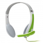 Lupus LPS-1010 Stylish Headphones Headset w/ Microphone - Green + White + Grey