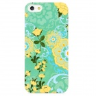 Protective Flowers Plastic Case for iPhone 5 - Blue + Yellow + Green