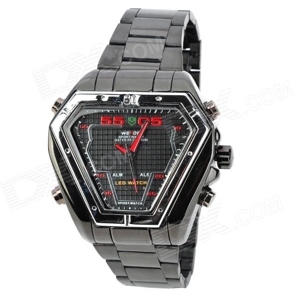 WEIDE WH1102-BR Stainless Steel Analog + LED Digital Quartz Waterproof Wrist Watch - Black + Silver fashion stainless steel red yellow led water resistant wrist watch black 2 x cr2016