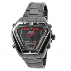 WEIDE WH1102-BR Stainless Steel Analog + LED Digital Quartz Waterproof Wrist Watch - Black + Silver