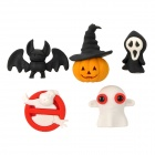 Halloween Pumpkin / Bat / Ghost Forbidden / Ghost / Skull Shaped Styrene Erasers (2 x 5 PCS)