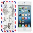 "Protective Silicone ""Struggle for Freedom"" Back Case for iPhone 5 - White + Blue + Red"