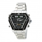 WEIDE WH1102-BS Stainless Steel Analog + LED Digital Quartz Waterproof Wrist Watch - Black + Silver
