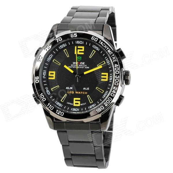 WEIDE WH-1009-BY Dual Display LED Digital + Analog Water Resistant Wrist Watch - Black (2 x SR626) fashion stainless steel red yellow led water resistant wrist watch black 2 x cr2016