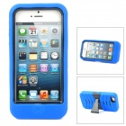 Protective Plastic + Silicone Body Case w/ Holder for iPhone 5 - Blue + Black