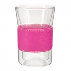 YSDX-619 Quality High-borosilicate Glass Cup w/ PU Leather Band - Deep Pink + Transparent