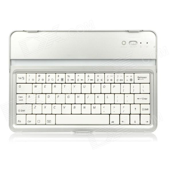 Protective Aluminum Alloy Wireless Bluetooth 61-Key Keyboard for Ipad MINI - Silver + White