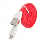 006 Portable 8-pin Lightning USB Charging Flat Cable for iPhone 5 - Red (1m)