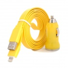 M1501 Car Charger + USB Charging / Data Flat Cable for iPhone 5 - Yellow