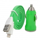 Car Charger + 8-pin Lightning USB Charging / Data Cable for iPhone 5 - Green